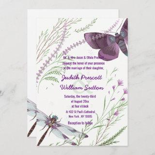 Purple Green Butterfly Watercolor Floral Wedding Invitation