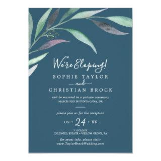 Purple Green Eucalyptus | Blue Elopement Reception Invitations