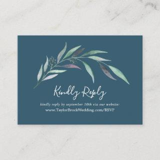 Purple Green Eucalyptus Blue Wedding Website RSVP Enclosure Card