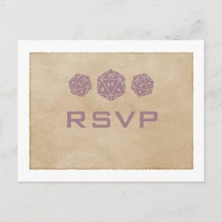 Purple Grunge D20 Dice Gamer RSVP Postcard