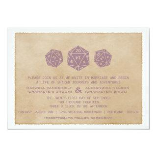 Purple Grunge D20 Dice Gamer Wedding Invitations