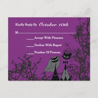 Purple Hallowedding Cats Wedding RSVP Card