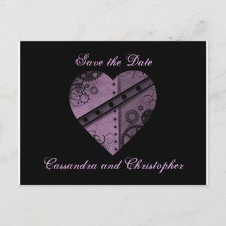 Purple heart save the date wedding announcement postcard