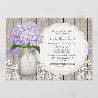 Purple Hydrangea Monogram Mason Jar Bridal Shower Invitations