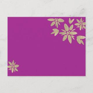 Purple invitation with gold sparkle flowers