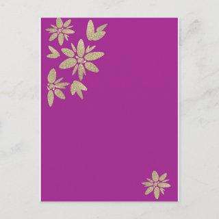 Purple Invitations with gold sparkle flowers