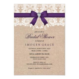 Purple Lace & Burlap Bridal Shower Invite