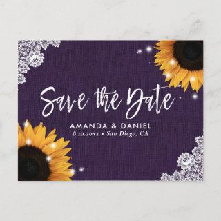 Purple Lace Sunflower Save The Date Postcard