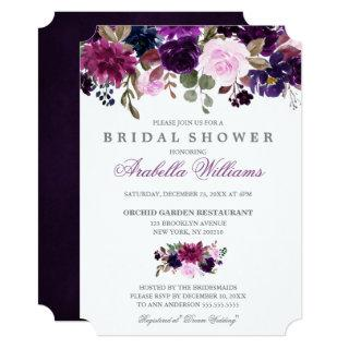 Purple Lavender Floral Boho Bridal Shower Invitations