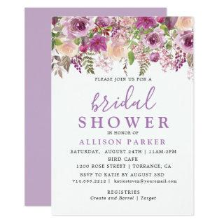 Purple Lavender Floral Bridal Shower Invitations