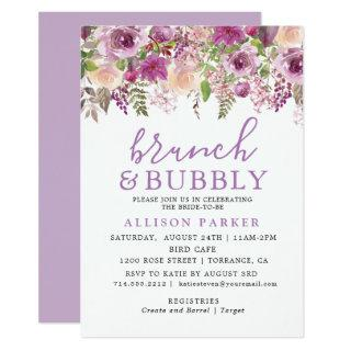 Purple Lavender Floral Brunch & Bubbly Invitation