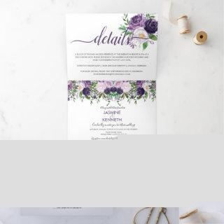 Purple Lavender Pink Watercolor Roses Wedding Tri-Fold Invitations
