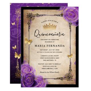 Purple Lavender Rose Gold Watercolor Quinceanera Invitations