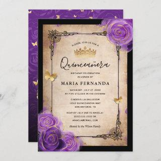 Purple Lavender Rose Gold Watercolor Quinceanera Invitation