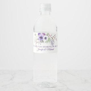 Purple Lavender White Floral Wedding Favors | Water Bottle Label