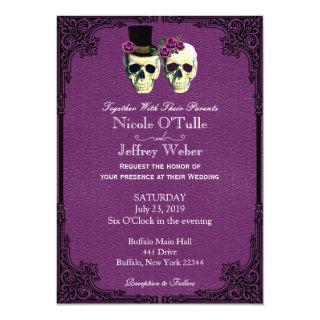 Purple Leather Goth Skull Wedding Invitations
