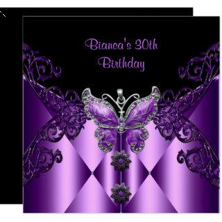 Purple Lilac Butterfly Jewel 30th Birthday Party Invitations