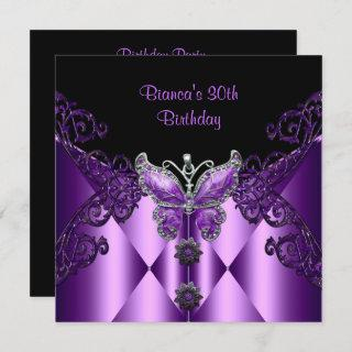 Purple Lilac Butterfly Jewel 30th Birthday Party Invitation
