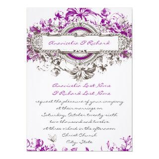 Purple Lilac Vintage Floral Wedding Invitation
