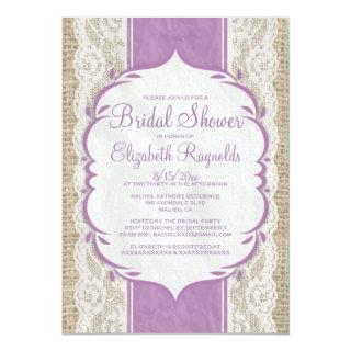 Purple Linen Burlap Lace Bridal Shower Invitations