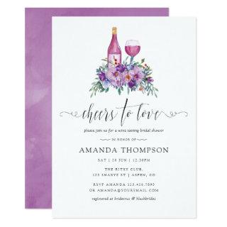 Purple Magnolia & Roses Wine Tasting Bridal Shower Invitations
