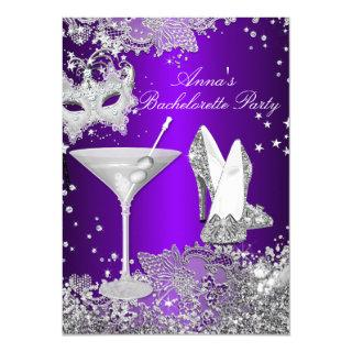 Purple Mask & Jewel Lace Bachelorette Party Invitations