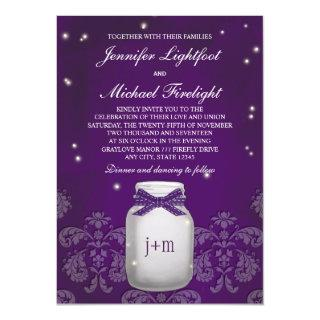 Purple Mason Jar with Fireflies Wedding Invitation