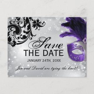 Purple Masquerade Wedding Save the Date Announcement Postcard