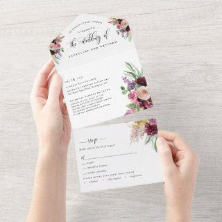 Purple Mauve Floral Wedding Tear Off RSVP All In One