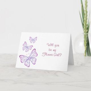 Purple Mauve Pink Classy Butterfly Flower Girl Invitations