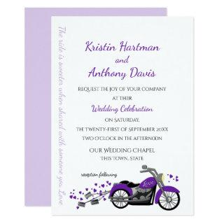 Purple Motorcycle and Hearts Wedding Invitations