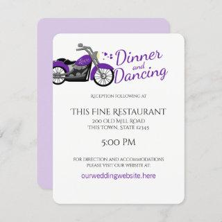 Purple Motorcycle and Hearts Wedding Reception Invitation