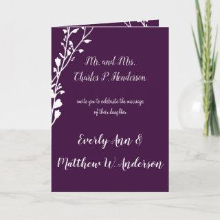 Purple or any color Floral Wedding Invitations