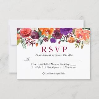 Purple Orange Burgundy Floral Wedding RSVP
