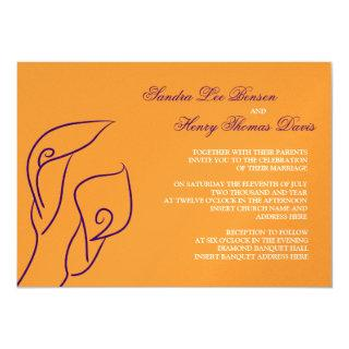 Purple & Orange Calla Lilies Wedding Invitations