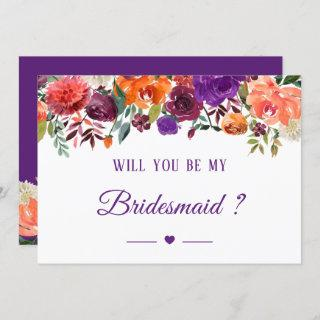 Purple Orange Red Floral Will You Be My Bridesmaid Invitations
