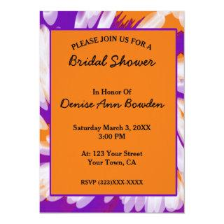 Purple Orange Tie Dye Swirl Bridal Shower Invitation