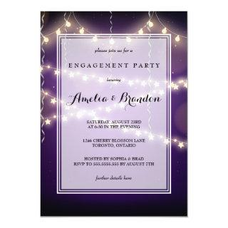 Purple Party Starry Lights Engagement Invitation