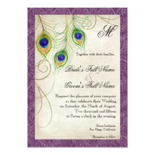 Purple Peacock Feathers Watercolor Vintage Wedding Invitation