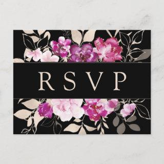 Purple Pink Floral RSVP Postcard with Meal Choice
