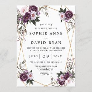 Purple Pink Peony Rose Gold All In One Wedding Invitations