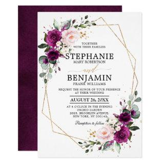 Purple plum Blush Pink Rose Boho Geometric Wedding Invitation