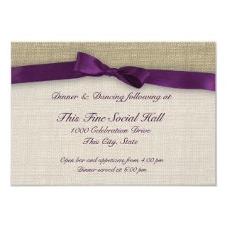 Purple Ribbon and Burlap Reception Invitation
