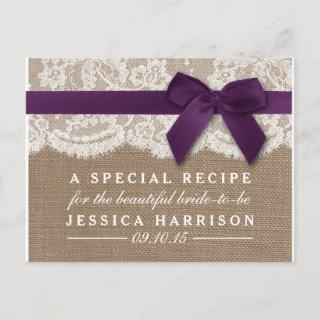 Purple Ribbon, Burlap & Lace Bridal Shower Recipe Invitation Postcard