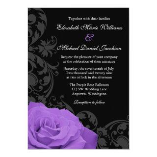 Purple Rose Flourish Wedding Invitations
