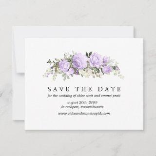 Purple Rose Save the Date Card with Photo Back
