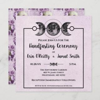 Purple Roses Handfasting Wicca Wedding Moon Invite