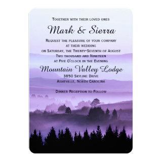 Purple Rustic Mountain Wedding Invitations