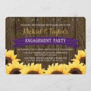 PURPLE RUSTIC SUNFLOWER ENGAGEMENT PARTY Invitations