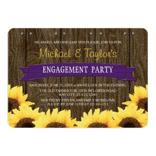 PURPLE RUSTIC SUNFLOWER ENGAGEMENT PARTY INVITATION